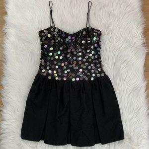 TOPSHOP Mermaid Disc Sequin Dress Black